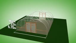 طرح ساخت گلخانه با عرض 6.70 متر و ارتفاع 2.92 متر